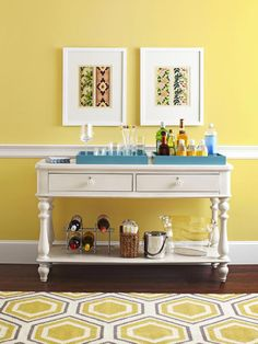 This lovely bar cart is actually a simple console table...transformed! #hgtvmagazine http://www.hgtv.com/decorating-basics/4-ways-to-use-a-console-table/pictures/page-2.html?soc=pinterest