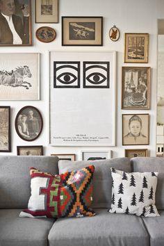 gallery wall. fun pillow prints.