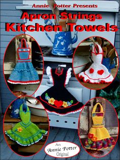 Apron Strings Kitchen Towels  Technique - Crochet    Aprons, aprons everywhere and not a one to wear. But you will remember your mother's aprons each time you use one of these darling little hand towels. Quick to make and very absorbent when using 4 ply cotton yarn (or you may use 4 ply acrylic yarn). What a perfect Mother's Day, hostess or Christmas gift. Hang one where ever you need to dry your hands.    Skill Level: Intermediate    Download Size: 12 page(s)