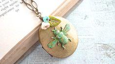 Verdigris Bumble Bee Vintage Locket Pendant Blue by daydreamjewels,