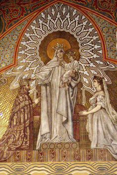 Mosaic depicting the coronation of Emperor Franz Josef & Empress Elisabeth as king and queen of Hungary