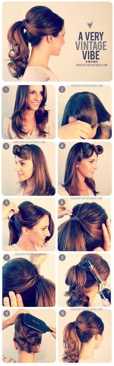 vintag vibe, poni tail, vintag ponytail, bridesmaid hair, vintage hair