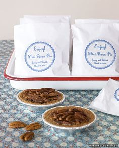 Mini pecan pies in custom wrappers are tasty and easy-to-assemble fall favors