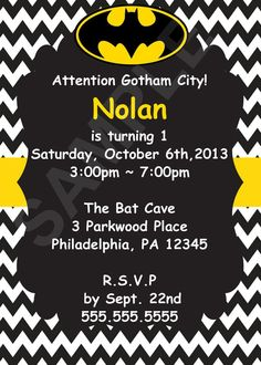 birthday parti, birthday idea, 1st birthday, batman birthday invitations