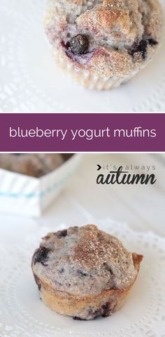 these blueberry muffins are just as moist and delicious as ones from the bakery but are healthier because greek yogurt replaces some of the fat and sugar!
