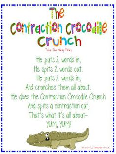 Another cute song about contractions to the tune of the hokey pokey. Students could make motions to the song, get out of their seats, or even work in groups to make hand motions for the song.