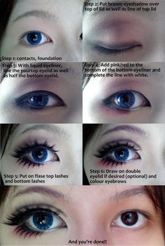 Cosplay eye makeup tutorial by ~Wenqiann on deviantART. I don't do cosplay but there's some cues on how to make eyes look bigger! The half black/half white bottom liner seems to do wonders!