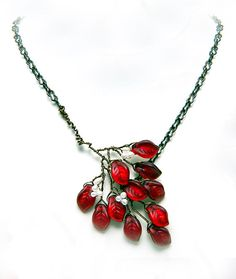Red Leaf Necklace Branch Necklace  Beaded by CherylParrottJewelry, $41.95