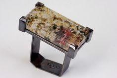 Ring | Chris Boland. 'Monolith'. Silver and Lodolite Quartz.