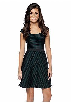Betsey Johnson Cap-Sleeve Fit and Flare Dress #belk #gifts #holidaydress