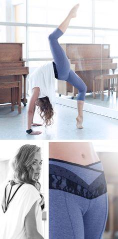 Cielo Tee in White, Alexandra Tank in Black, and Dana Crop in Hthr Damsun/Black. #karmawear #clothingformovement #yogafashion #VeiledDuality  See more: http://www.karmawear.com/pages/veiled-duality
