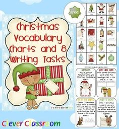 FREE Christmas Vocabulary Charts and 8 Writing Tasks - 5 pages Easily print your 3 full-page Christmas vocabulary charts and your writing tasks x 8 (4 to a page).    Use the charts for individual or small groups reading and writing sessions.    Introduce the writing task cards by playing each activity with the whole class watching and interacting where appropriate.