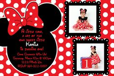 Red and Black Polka Dot Minnie Mouse Invitation OR Thank you Card (Black and White Polka Dot Background) on Etsy, $10.00