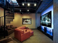 urban chic, basement lighting, media rooms, homes, spiral staircases, basements, medium, design, man caves