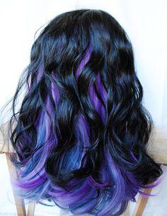 SALE // FIREFLIES wig // Black Blue Purple Hair by MissVioletLace