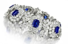 A Sapphire and Diamond Cluster Bracelet, by Van Cleef & Arpels, circa 1950. Available at FD Gallery