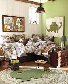 shared boys room. I like the beds like this.