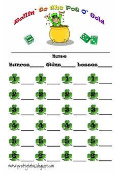 St. Patrick's Bunco Score sheet