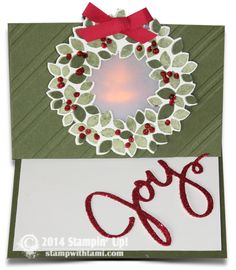 Stampin Up Illuminated Tealight Easel WOW Card video on blog. Wondrous Wreath stamp set and framelits #stampinup
