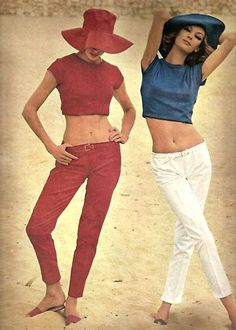 Crop tops and jeans; 1962 60s color photo print ad red blue white models magazine pants pencil