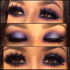 Purple eyeshadow blended out from creases, bluish-purple on lid, crease purple smudged along lower lash line, upper and lower falsies. perfect for brown eyes