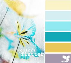 color palette: living room the yellow or grey at the bottom, dining room brighter darker aqua, kitchen lighter brighter aqua