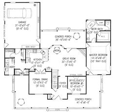 First Floor Plan of Country   Farmhouse  House Plan 96827