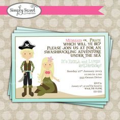 Mermaid and Pirate Birthday Party printable by SimplySweetParties, $12.00