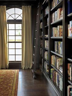 Floor to ceiling bookshelves and ladder.