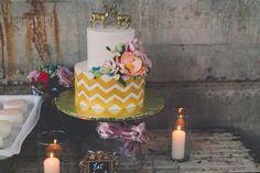chevron wedding cake, photo by Mike Olbinski Photography http://ruffledblog.com/arizona-wedding-with-architectural-history #weddingcake #cakes