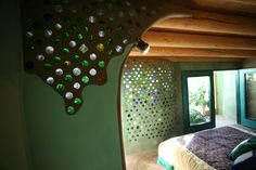 an earthship bedroom...