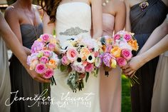 My #bridesmaids and I in #jcrew and #verawang, #ShabbyChic #Wedding #Bridalbouquet #Anenomeflowers #DesertWedding  by @Jennifer Milsaps L Yount