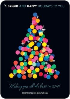 Sparkling Bright - Business Holiday Cards in black with boldly colored tree design.