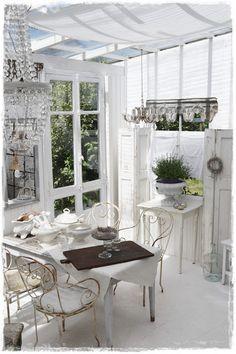 .Beautiful white greenhouse room.