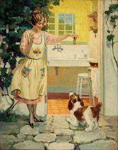 treats, american illustr, vintage illustrations, candi, aprons, old cards, artist, vintag illustr, happi housewif