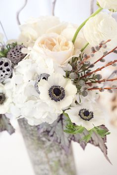 rose, white flowers, color, bride bouquets, grey, winter flowers, wedding centerpieces, winter weddings, anemones