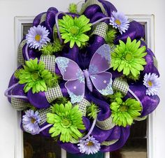 Spring Butterfly Mesh Wreath