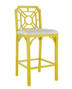 Yellow fretwork barstool.  Lilly Pulitzer.