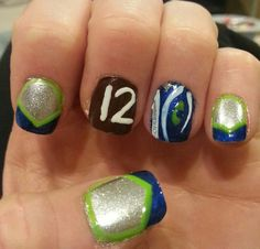 My nails for the 10-13-13 Seahawks game! GO HAWKS!!! Win