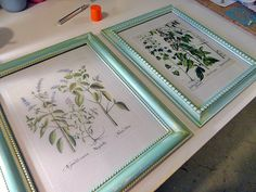 Aged Frames with Botanical Prints - Crafts by Amanda