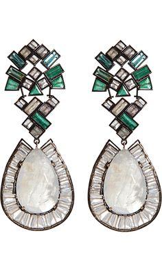 Nak Armstrong Rainbow Moonstone, Emerald, Green Tourmaline & Labradorite Earrings