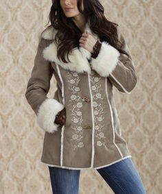 Look at this #zulilyfind! Ash & Ivory Rose Embroidered Faux Fur Coat - Women by Rancho Estancia #zulilyfinds