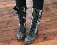 Leather studded combat boots. <3