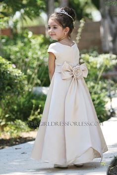 Flower Girl Dress Style 5377-All Satin Cap Short Sleeved Aline Dress $59.99