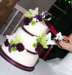 Purple and Green Bloom Wedding Cake