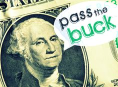 pass the buck, with monopoly money, LRA for a tithing lesson or finances activity