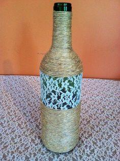 Wrapped wine bottled on Etsy, $16.00