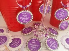40th Birthday Party Favors, Wine Charms, Cupcake Toppers and More..   PartySupplies2 - Housewares on ArtFire