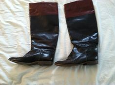 Vintage Brown & Sienna Leather Riding Boots Size 9 by karpark88