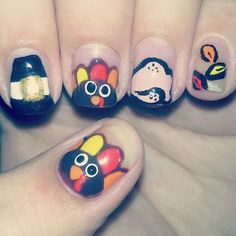 thanksgiving nail art, thanksgiving turkey, thanksgiv nail, nail art designs, nail arts, happi thanksgiv, beauti, nail design, thanksgiving nails